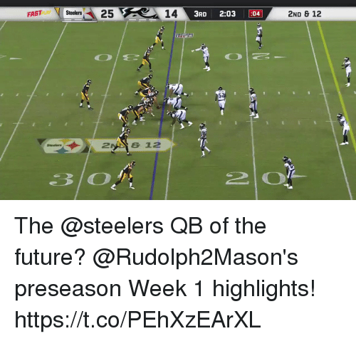 Future, Memes, and Steelers: FAST  Stelers25  14  3RD 2:03 :04  2ND & 12  26 12 The @steelers QB of the future?  @Rudolph2Mason's preseason Week 1 highlights! https://t.co/PEhXzEArXL