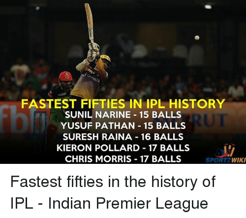 fifties: FASTEST FIFTIES IN IPL HISTORY  SUNIL NARINE 15 BALLS  YUSUF PATHAN 15 BALLS  SURESH RAINA 16 BALLS  KIERON POLLARD 17 BALLS  CHRIS MORRIS 17 BALLS  SPORT  2 WIKI Fastest fifties in the history of IPL - Indian Premier League