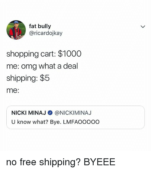 Nicki Minaj, Omg, and Shopping: fat bully  @ricardojkay  shopping cart: $1000  me: omg what a deal  shipping: $5  me:  NICKI MINAJ @NICKIMINAJ  U know what? Bye. LMFAOOooo no free shipping? BYEEE