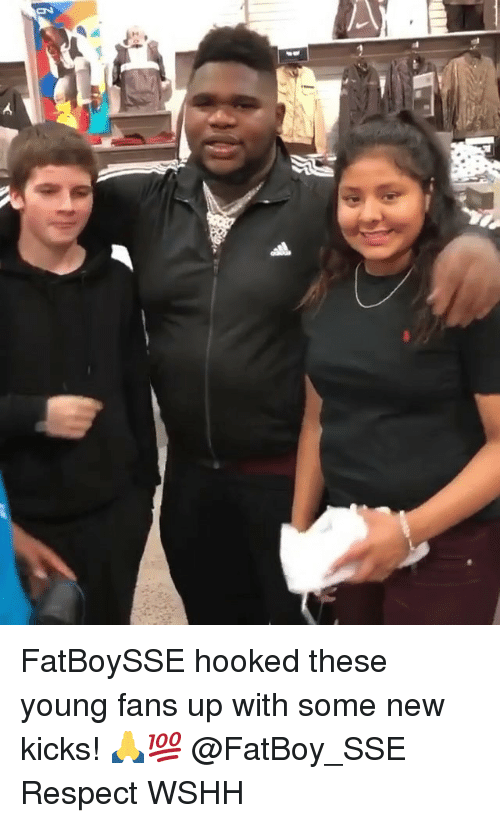Memes, Respect, and Wshh: FatBoySSE hooked these young fans up with some new kicks! 🙏💯 @FatBoy_SSE Respect WSHH