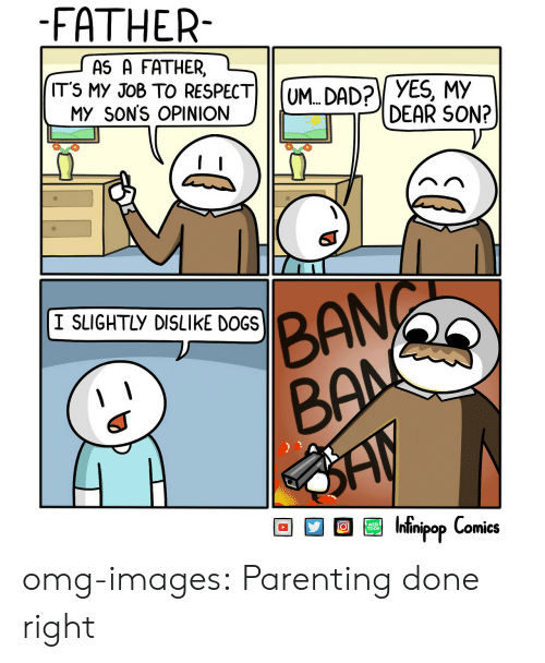 Parenting Done Right: FATHER-  AS A FATHER  ITS MY JoB TO RESPECT UM DAD? YES, My  My  MY SON'S OPINIONOM.  DEAR SON?  I SLIGHTLY DISLIKE DOGS  BAN  ESI Intinipop Comics  WEB omg-images:  Parenting done right