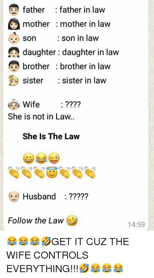 Sister, Sister, Husband, and Wife: father : father in law  mother mother in lavw  son son in law  SOn  e, daughter: daughter in law  brother brother in law  sister  :sister in law  Wife ????  She is not in Law.  She Is The Law  Husband:  ?????  Follow the Law  14:59