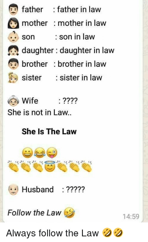 Sister, Sister, Husband, and Wife: father : father in law  mother mother in law  son son in law  daughter: daughter in law  brother brother in law  sister sister in law  Son  Wife :????  She is not in Law.  She Is The Law  Husband :?????  Follow the Law  14:59
