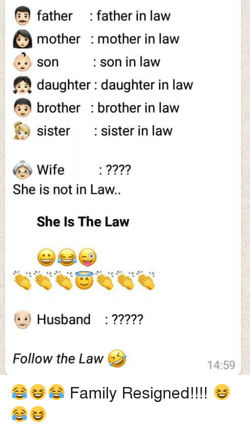 Family, Sister, Sister, and Husband: father : father in law  mother mother in law  son  daughter : daughter in law  brother brother in law  sister :sister in law  : son in law  Wife ????  She is not in Law..  She Is The Law  Husband ???7?  Follow the Law  14:59 😂😆😂 Family Resigned!!!! 😆😂😆