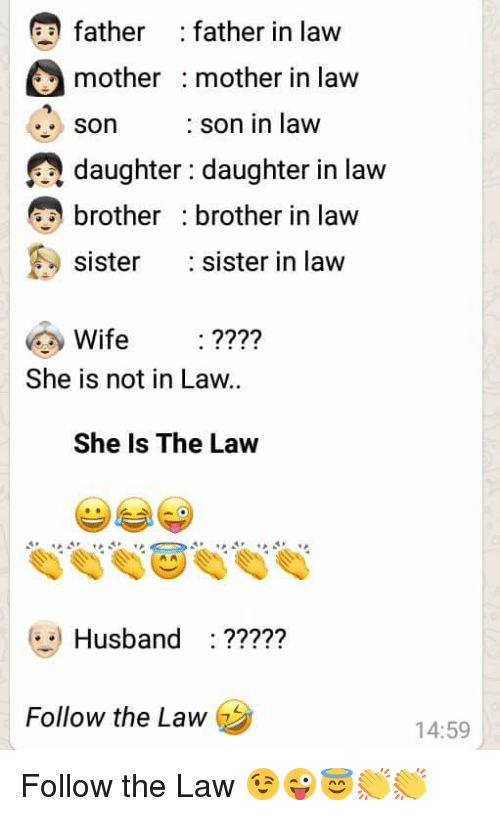 Sister, Sister, Husband, and Wife: father : father in law  mother mother in law  son  daughter : daughter in law  brother brother in law  sister :sister in law  : son in law  Wife ????  She is not in Law..  She Is The Law  Husband ???7?  Follow the Law  14:59