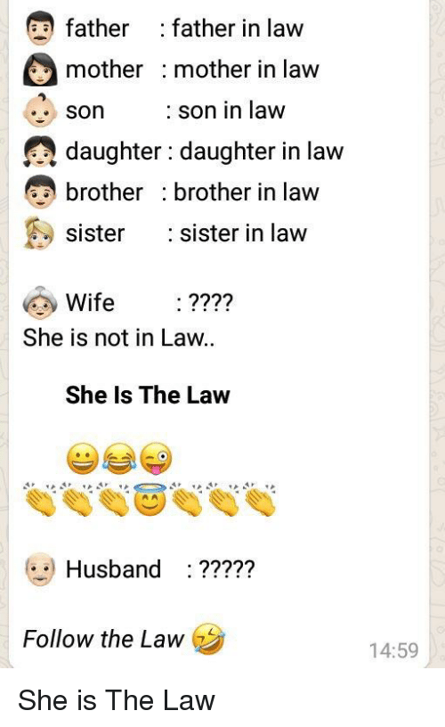 Sister, Sister, Husband, and Wife: father :father in law  mother : mother in law  Son  daughter: daughter in law  brother : brother in law  sister sister in law  : son in law  Wife :????  She is not in Law  She Is The Law  Husband : ?????  Follow the Law  14:59