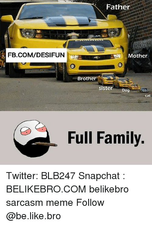 Be Like, Family, and Meme: Father  FB.COM/DESIFUN  Mother  Brother  sister o  sisterDog  cat  Full Family. Twitter: BLB247 Snapchat : BELIKEBRO.COM belikebro sarcasm meme Follow @be.like.bro