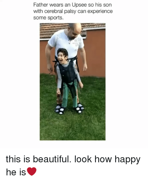 Beautiful, Sports, and Happy: Father wears an Upsee so his son  with cerebral palsy can experience  some sports.  Sh  an  Ac this is beautiful. look how happy he is❤️
