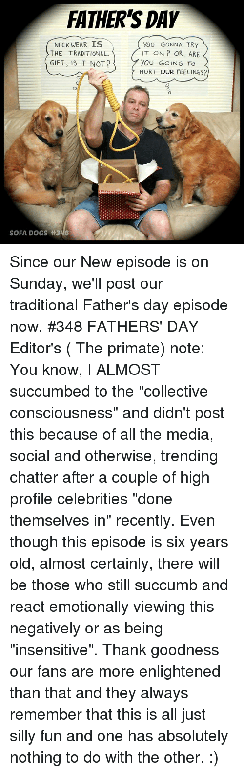 "Fathers Day, Memes, and Sunday: FATHER'S DAY  NECK WEAR IS  THE TRADITIONAL  GIFT, IS IT NOT?  YOU GONNA TRY  IT ON? OR ARE  YOU GoING TO  HURT OUR FEELINGS?  SOFA DOCS Since our New episode is on Sunday, we'll post our traditional Father's day episode now. #348 FATHERS' DAY Editor's ( The primate) note: You know, I ALMOST succumbed to the ""collective consciousness"" and didn't post this because of all the media, social and otherwise, trending chatter after a couple of high profile celebrities ""done themselves in"" recently. Even though this episode is six years old, almost certainly, there will be those who still succumb and react emotionally viewing this negatively or as being ""insensitive"".  Thank goodness our fans are more enlightened than that and they always remember that this is all just silly fun and one has absolutely nothing to do with the other. :)"