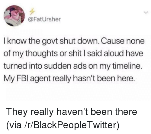 Fbl: @FatUrsher  I know the govt shut down. Cause none  of my thoughts or shit l said aloud have  turned into sudden ads on my timeline.  My FBl agent really hasn't been here. They really haven't been there (via /r/BlackPeopleTwitter)