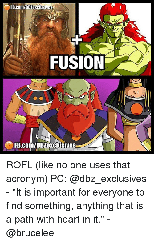 """Memes, Acronym, and 🤖: FB.com/DBZexclusives  FUSION  FB.com/DBZexclusives ROFL (like no one uses that acronym) PC: @dbz_exclusives - """"It is important for everyone to find something, anything that is a path with heart in it."""" - @brucelee"""