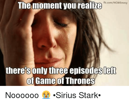 Game of Thrones, Memes, and fb.com: fb.com/NCWEmmy  The moment you realze  there's only three episodes left  of Game of Thrones  0 Noooooo 😭 •Sirius Stark•