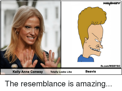 beavis: fb.com/WSBYSO  Kelly Anne Conway  Totally Looks Like  Beavis The resemblance is amazing...