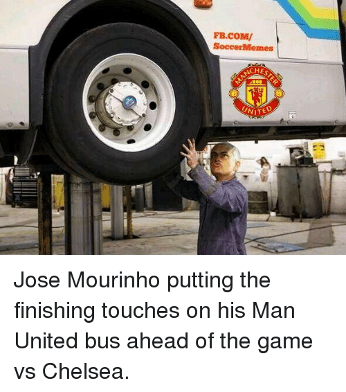 Soccermemes: FB.COMV  SoccerMemes  UNITE Jose Mourinho putting the finishing touches on his Man United bus ahead of the game vs Chelsea.