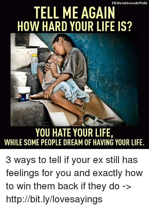 Tell Me Again: FB/DavidAvocado Wolfe  TELL ME AGAIN  HOW HARD YOUR LIFE IS?  YOU HATE YOUR LIFE,  WHILE SOME PEOPLE DREAM OF HAVING YOUR LIFE. 3 ways to tell if your ex still has feelings for you and exactly how to win them back if they do -> http://bit.ly/lovesayings