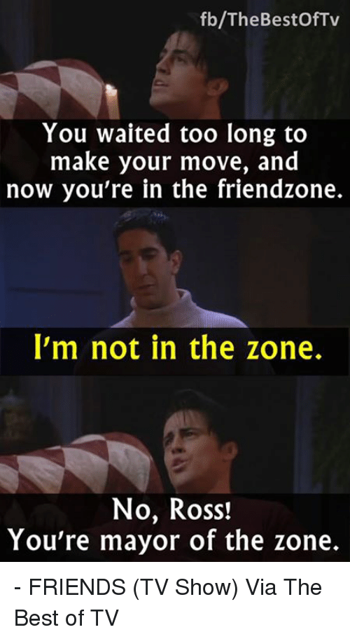 Friends (TV show): fb/The Bestof Tv  You waited too long to  make your move, and  now you're in the friendzone.  I'm not in the zone.  No, Ross!  You're mayor of the zone. - FRIENDS (TV Show)  Via The Best of TV