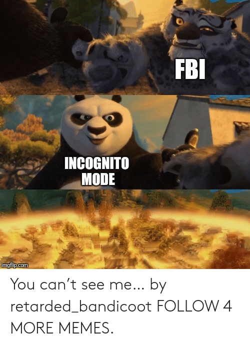 Cant See Me: FBI  INCOGNITO  MODE  imgflip.com You can't see me… by retarded_bandicoot FOLLOW 4 MORE MEMES.