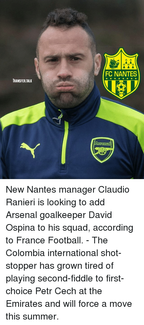 cech: FC NANTES  TRANSFER.TALK  94 New Nantes manager Claudio Ranieri is looking to add Arsenal goalkeeper David Ospina to his squad, according to France Football. - The Colombia international shot-stopper has grown tired of playing second-fiddle to first-choice Petr Cech at the Emirates and will force a move this summer.