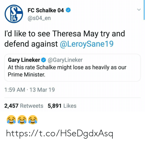 Theresa: FC Schalke 04  @s04_en  04  I'd like to see Theresa May try and  defend against @LeroySane19  Gary Lineker@GaryLineker  At this rate Schalke might lose as heavily as our  Prime Minister.  1:59 AM 13 Mar 19  2,457 Retweets 5,891 Likes 😂😂😂 https://t.co/HSeDgdxAsq