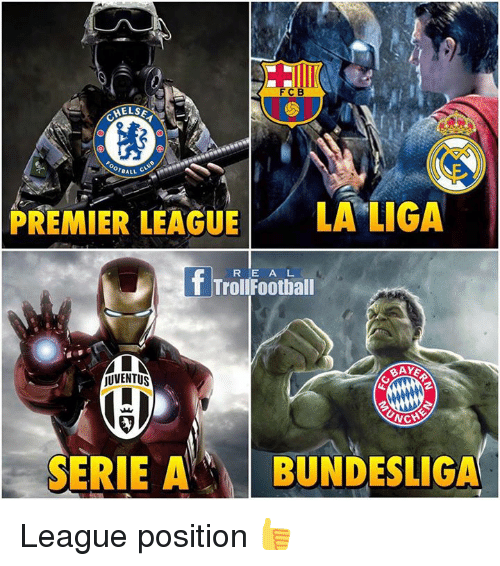 Football, Memes, and Premier League: FCB  HELSE  reALL  PREMIER LEAGUE  LA LIGA  f Troll E A L  Football  R jUVENTUS  MICH  SERIE A  BUNDESLIGA League position 👍