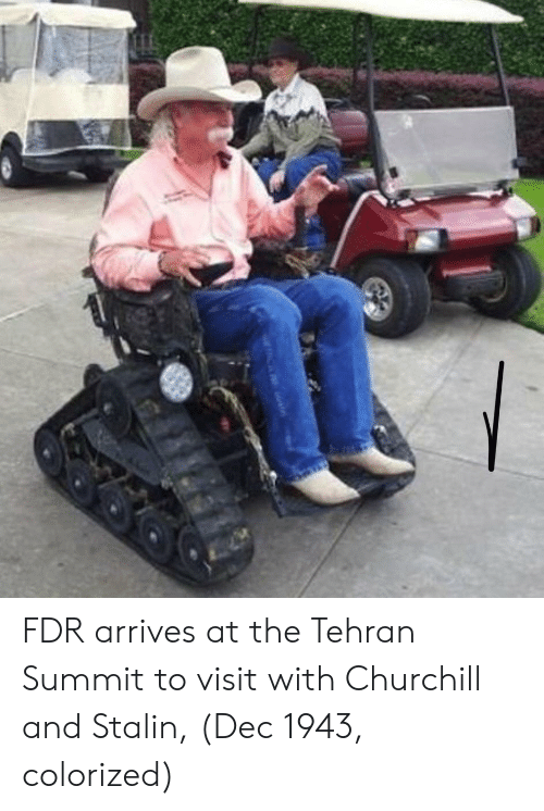churchill: FDR arrives at the Tehran Summit to visit with Churchill and Stalin, (Dec 1943, colorized)