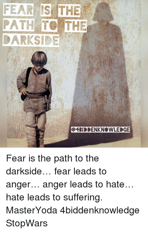 fear is the path to the oeriddenknowledge fear is the 11642751 🔥 25 best memes about hate leads to suffering hate leads to,Fear Leads To Anger Meme