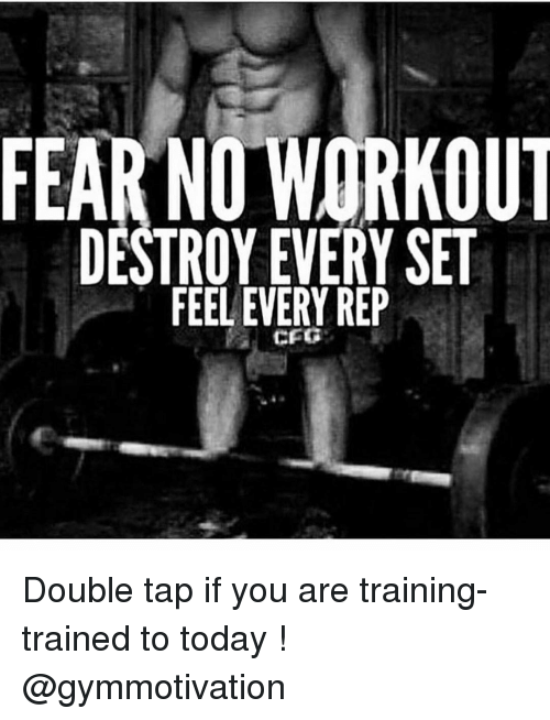 repping: FEAR NO WORKOUT  DESTROY EVERY SET  FEEL EVERY REP  CFG Double tap if you are training- trained to today ! @gymmotivation