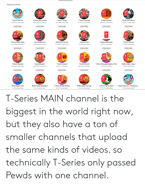 kannada: Featured channels  APNA PUNJAB  ALTHAND  Health And Fitness  1,544,779 subscribers  TULSI K  AD GUR  Shabad Gurbani  1,206,946 subscribers  T-Series Kids Hut  T-Series Apna Punjab  15,782,888 subscribers  T-Series Telugu  2,449,783 subscribers  T-Series Kannada  ,044,024 subscribers  518,370 subscribers  SUBSCRIBE  SUBSCRIBE  SUBSCRIBE  SUBSCRIBE  SUBSCRIBE  SUBSCRIBE  TSERIES TAMIL  AKTI SAG  T-Series Bhakti Sagar  17,569,367 subscribers  Pop Chartbusters  6,555,440 subscribers  YWOOD CLA  Bollywood Classics  9,128,892 subscribers  YALAM M  T-Series Malayalam  102,096 subscribers  AN CLASS  T-Series Classics  138,363 subscribers  T-Series Tamil  747,250 subscribers  SUBSCRIBE  SUBSCRIBE  SUBSCRIBE  SUBSCRIBE  SUBSCRIBE  SUBSCRIBE  SERIES  ERVES  L M  T-Series Regional  5,434,695 subscribers  AR ВНО.  hamaarbhojpuri  4,447,053 subscribers  ARATI MU  T-Series Gujarati  415,531 subscribers  RATHI M  T-Series Marathi  466,758 subscribers  T-Series Bhavageethegalu & Folk  13,035 subscribers  Bhakti Sagar Telugu  23,945 subscribers  SUBSCRIBE  SUBSCRIBE  SUBSCRIBE  SUBSCRIBE  SUBSCRIBE  SUBSCRIBE  DS  SAGAR MALA  Bhakti Sagar Malayalanm  9,613 subscribers  KTI MAR  T-Series Bhakti Marathi  423,015 subscribers  SAGAR KA  Bhakti Sagar Kannada  47.934 subscribers  MIC M  T-Series Islamic Music  1,375,715 subscribers  guês b  Bhakti Sagar Tamil  11,030 subscribers  T-Series Kids Hut - Portuguese  146,180 subscribers T-Series MAIN channel is the biggest in the world right now, but they also have a ton of smaller channels that upload the same kinds of videos. so technically T-Series only passed Pewds with one channel.