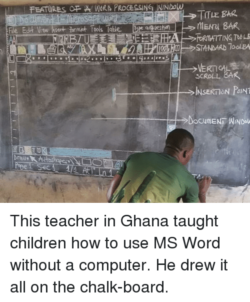 vow: FEATURES FWORN PROCESSING NINDow  TITLE BAR  le Edit Vow hsert formt Tools Tabe  qquesti  STANDARD 7oolBA  SCROLL BAR  、  INSERT ON PANT  At This teacher in Ghana taught children how to use MS Word without a computer. He drew it all on the chalk-board.