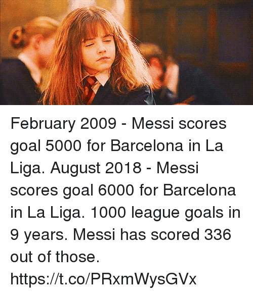 Barcelona, Goals, and Soccer: February 2009 - Messi scores goal 5000 for Barcelona in La Liga.   August 2018 - Messi scores goal 6000 for Barcelona in La Liga.  1000 league goals in 9 years. Messi has scored 336 out of those. https://t.co/PRxmWysGVx