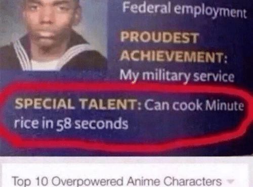 employment: Federal employment  PROUDEST  ACHIEVEMENT:  My military service  SPECIAL TALENT: Can cook Minute  rice in 58 seconds  Top 10 Overpowered Anime Characters