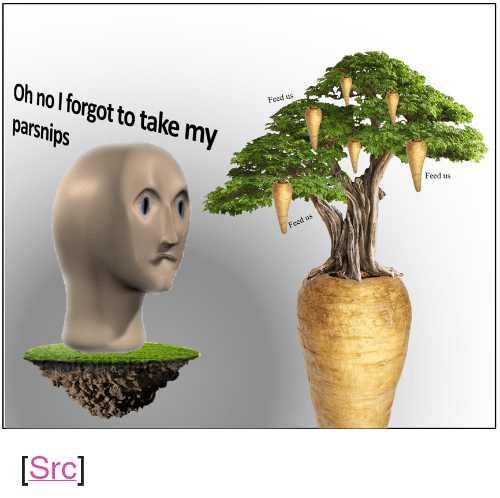 """Reddit, Today, and Com: Feed us  Oh nol forgot to take my  parsnips  Feed us <p>[<a href=""""https://www.reddit.com/r/surrealmemes/comments/8aqmkj/h_a_v_e_y_o_u_t_a_k_e_n_y_o_u_r_parsnips_today_cc/"""">Src</a>]</p>"""