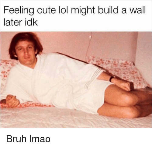 Build A Wall: Feeling cute lol might build a wall  later idk Bruh lmao