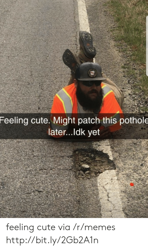 Pothole: Feeling cute. Might patch this pothole  later...ldk yet feeling cute via /r/memes http://bit.ly/2Gb2A1n