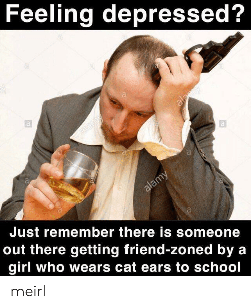 Friend Zoned: Feeling depressed?  Just remember there is someone  out there getting friend-zoned by a  girl who wears cat ears to school meirl