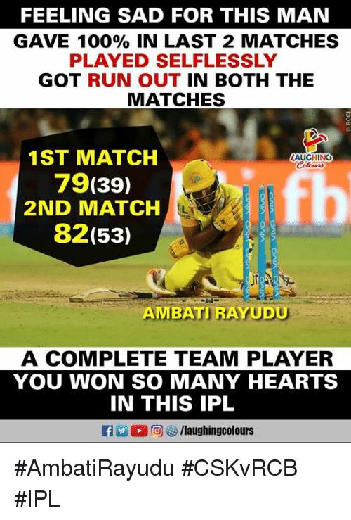Anaconda, Run, and Hearts: FEELING SAD FOR THIS MAN  GAVE 100% IN LAST 2 MATCHES  PLAYED SELFLESSLY  GOT RUN OUT IN BOTH THE  MATCHES  2  1ST MATCH  79(39)  2ND MATCH  82(53)  LAUGHING  AMBATI RAYUDU  A COMPLETE TEAM PLAYER  YOU WON SO MANY HEARTS  IN THIS IPL  D 回ぴ/laughingcolours #AmbatiRayudu #CSKvRCB #IPL