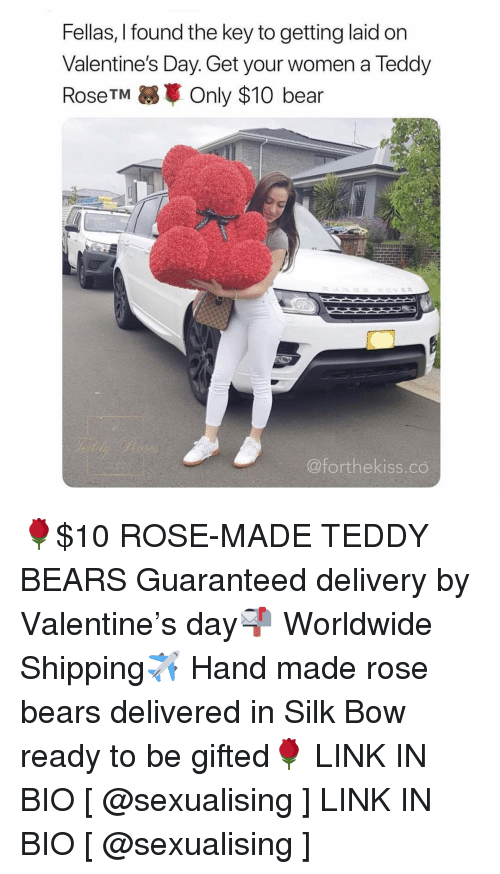 the key: Fellas, I found the key to getting laid on  Valentine's Day. Get your women a Teddy  RoseTM Only $10 bear  @forthekiss.co 🌹$10 ROSE-MADE TEDDY BEARS Guaranteed delivery by Valentine's day📬 Worldwide Shipping✈️ Hand made rose bears delivered in Silk Bow ready to be gifted🌹 LINK IN BIO [ @sexualising ] LINK IN BIO [ @sexualising ]