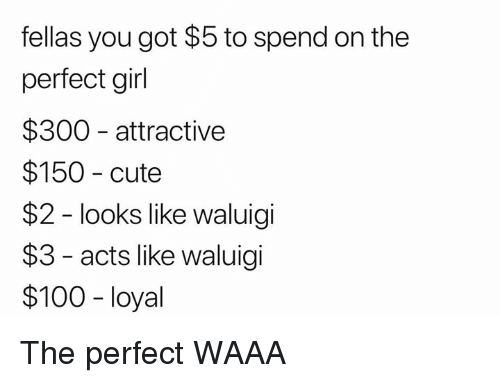 SIZZLE: fellasyougot$5tospendontheperfectgirl$300attractive$150cute$2-lookslikewaluigi$3-actslikewaluigi$100-loyal TheperfectWAAA