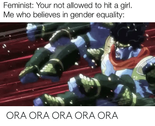 equality: Feminist: Your not allowed to hit a girl.  Me who believes in gender equality: ORA ORA ORA ORA ORA