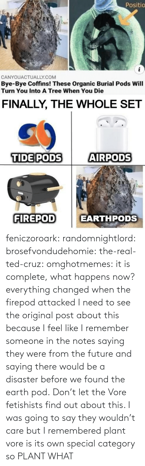 Future: feniczoroark:  randomnightlord:  brosefvondudehomie: the-real-ted-cruz:  omghotmemes: it is complete, what happens now? everything changed when the firepod attacked    I need to see the original post about this because I feel like I remember someone in the notes saying they were from the future and saying there would be a disaster before we found the earth pod.    Don't let the Vore fetishists find out about this.    I was going to say they wouldn't care but I remembered plant vore is its own special category so   PLANT WHAT
