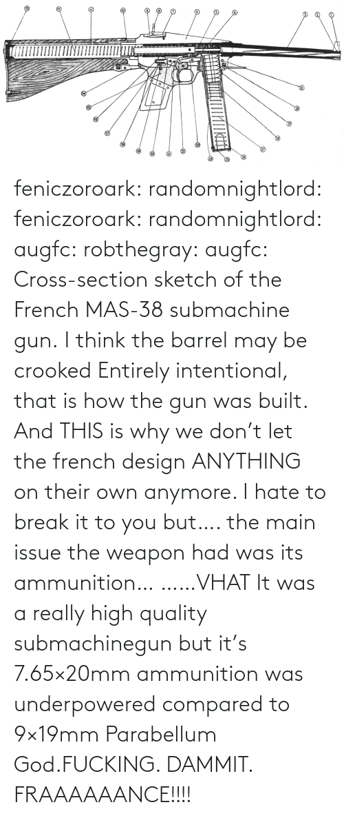 Mas: feniczoroark:  randomnightlord:  feniczoroark:  randomnightlord:  augfc: robthegray:  augfc:  Cross-section sketch of the French MAS-38 submachine gun.   I think the barrel may be crooked  Entirely intentional, that is how the gun was built.    And THIS is why we don't let the french design ANYTHING on their own anymore.    I hate to break it to you but…. the main issue the weapon had was its ammunition…   ……VHAT   It was a really high quality submachinegun but it's 7.65×20mm ammunition was underpowered compared to 9×19mm Parabellum   God.FUCKING. DAMMIT. FRAAAAAANCE!!!!