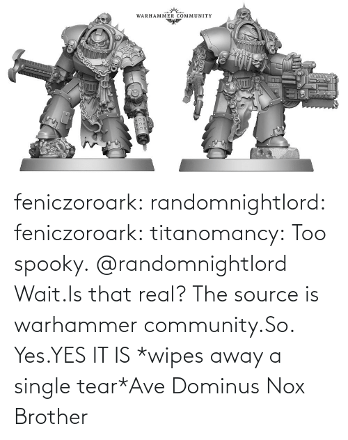 Yes It Is: feniczoroark:  randomnightlord:  feniczoroark:  titanomancy:  Too spooky.   @randomnightlord    Wait.Is that real?    The source is warhammer community.So. Yes.YES IT IS   *wipes away a single tear*Ave Dominus Nox Brother