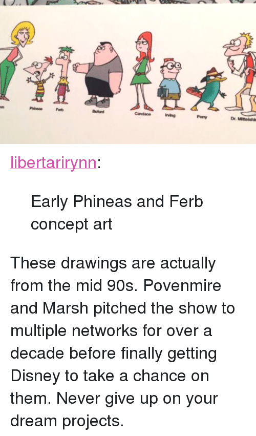 """concept art: Ferb  irving  Penny  Dr. Mitteishl <p><a href=""""https://libertarirynn.tumblr.com/post/174309996314/early-phineas-and-ferb-concept-art"""" class=""""tumblr_blog"""">libertarirynn</a>:</p>  <blockquote><p>Early Phineas and Ferb concept art</p></blockquote>  <p>These drawings are actually from the mid 90s. Povenmire and Marsh pitched the show to multiple networks for over a decade before finally getting Disney to take a chance on them. Never give up on your dream projects.</p>"""