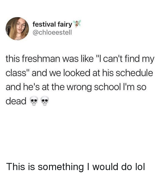 "Funny, Lol, and School: festival fairy  @chloeestell  this freshman was like ""l can't find my  class"" and we looked at his schedule  and he's at the wrong school I'm so  dead This is something I would do lol"