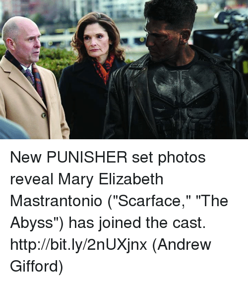 "Scarface: -(((few. New PUNISHER set photos reveal Mary Elizabeth Mastrantonio (""Scarface,"" ""The Abyss"") has joined the cast. http://bit.ly/2nUXjnx  (Andrew Gifford)"