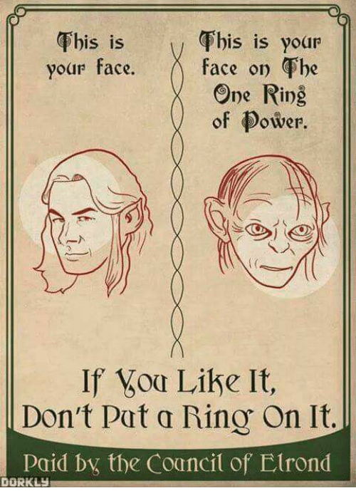 Rino: Fhis is yoar  Fhis is  your face. f  his is your  face on he  One Ring  of Power  S 1S  of ower.  If oa Like It,  Don't Pat a Rino On It.  consid bx the Councit of Elrond  DORKLY