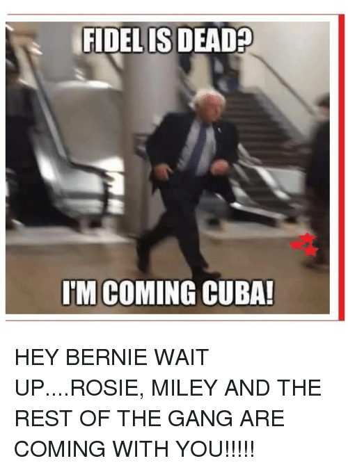 Memes, Gang, and Rosie: FIDELIS DEAD  IM COMING CUBA! HEY BERNIE WAIT UP....ROSIE, MILEY AND THE REST OF THE GANG ARE COMING WITH YOU!!!!!