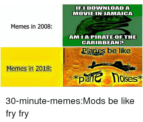caribbean: FIDOWNLOADA  MOVIEINJAMAICA  Memes in 2008:  AMLAPIRATE OF THE  CARIBBEAN  Memes in 2018:  loises 30-minute-memes:Mods be like fry fry