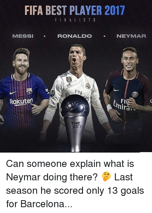 Barcelona, Fifa, and Goals: FIFA BEST PLAYER 2017  FINA LIST S  MESSI  RONALDO  NEYMAR  Fl  traa  Rakuten  nir Can someone explain what is Neymar doing there? 🤔 Last season he scored only 13 goals for Barcelona...
