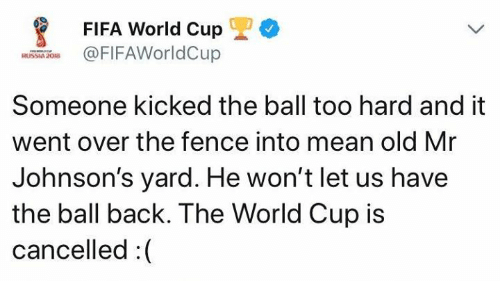 johnsons: FIFA World Cup  FIFAWorldCup  RUSSIA 208  Someone kicked the ball too hard and it  went over the fence into mean old Mr  Johnson's yard. He won't let us have  the ball back. The World Cup is  cancelled:(